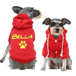 Custom Name Personalized Dog Cat Pet Puppy Hoodie Clothes Coat Cotton Breathable