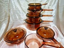 13 Pc Visions Visionware Corning Ware Amber Glass Cookware