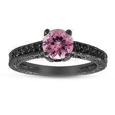 Pink Tourmaline & Enhnaced Black Diamonds Engagement Ring 14K Black Gold 1.12Ct