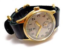 Crowder Retro Vintage Military 1940s WW2 Replica Watch Silver Dial Leather Strap