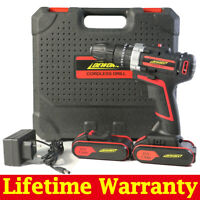 21V Electric Cordless Impact Hammer Drill Set Driver Screwdriver 2 Batteries