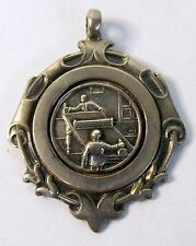 1920 PING PONG Table Tennis STERLING SILVER fob medal Birmingham by Fattorini