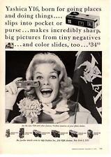 1959 Yashica Y16 16mm Camera Yale Bulldogs Football Pennant Scarf Mum Print Ad