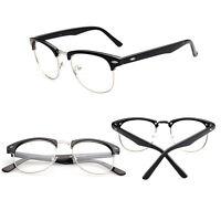Vintage Unisex Resin Half Frame Clear Lens Glasses Nerd Geek Eyewear Eyeglasses~