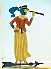 Vintage ~ Rare ~ Seafarer Wife ~ Metal Silhouette ~ Folk Art Weather Vane