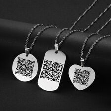 QR Code Laser Engrave Pendant Custom Necklace Personalized Mini Barcode Dog Tag