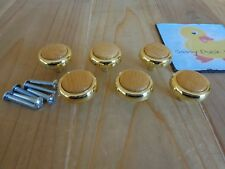 DRAWER KNOBS Set of 6 Polished Brass with Wood Centers Cabinet Handles