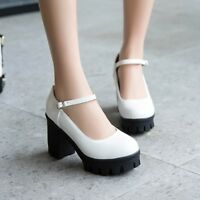 Womens Block High Heel Mary Jane Chunky Pumps Ankle Strap Creeper Platform Shoes