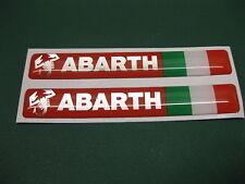 2 semicirculares Abarth semicirculares pegatinas con una bandera italiana Red/silver 80 Mm X 12 Mm