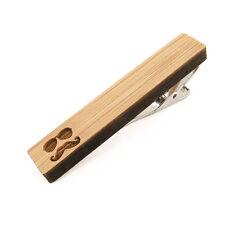 Pince à cravate Moutache Lunettes pour homme en bois Bambou - Wood Tie Clip