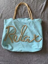 Beach Bag Canvas Tote RELAX Turquoise With Ropes