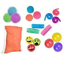 18 Piece Sensory Fidget Toy Bundle - 6 Toys & Bag Compact - ADHD Therapy - Stres