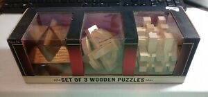 New In Box Set of Three Mind Teaser Puzzles Wooden