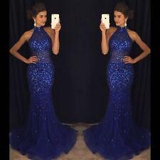 Elegant Royal Blue Mermaid Long Prom Dresses 2017 Beads Crystal Evening Gowns