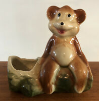 Vintage Bear On A Log Planter Napco Shawnee  Mid-Century, Succulent Bonsai EUC!
