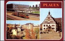 DDR Postkarte 1984 PLAUEN Oberer Bahnhof Tram Strassenbahn u. Otto Grotewohl Pl.