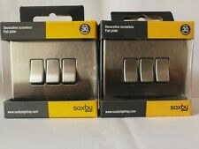 2 X Saxby Screwless Brushed Stainless Steel 10A 3G 2 Way Light Switch.BARGAIN.