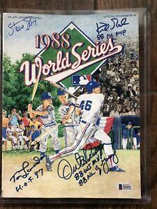 Tommy Lasorda Kirk Gibson & Hershieser signed 1988 Dodgers World Series Program