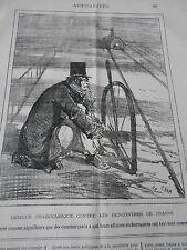 Caricature 1877  Remède contre les rencontres de Trains Aiguilleurs