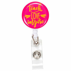 Teach Love Inspire Hot Pink and Gold 3 x 1 Acrylic Pull Badge Holder Clip Reel