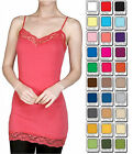 Bozzolo TANK TOP LACE Cami Long Layering BASIC Spaghetti Strap WHIMSY S,M,L