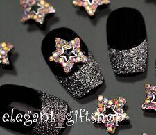 10pcs Nail Art Deco Star Shape Alloy Jewelry Multicolor Glitter Rhinestone#EA010