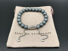 DAVID YURMAN Spiritual Bead Bracelet Sterling Silver w Gray Matte Hematite 8mm