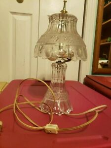 3 Princess Style Crystal Lamps w/Frosted Flowers