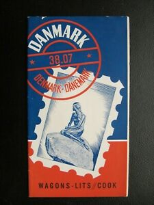 WAGON LITS COOK VINTAGE DANMARK TRAVEL GUIDE BROCHURE in 2 languages from 1938