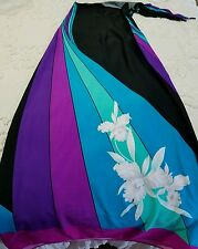 VINTAGE 1960s Mod Skirt MALIHINI Hawaii wrap sarong Large Bright Flowers
