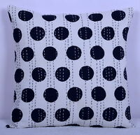 Indian Kantha Pillow Case Decorative Throw Cotton Polka Dot Cushion Cover 16""