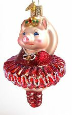 Ballerina Pig Old World Christmas Tree Ornament NWT mouth blown glass