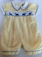 Carriage Boutiques Smocked Romper Outfit Whales Yellow Blue Baby Boy 3M 3 Months