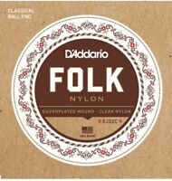 D'Addario EJ32C Folk Nylon Ball End Guitar Strings Silver Wound Clear Nylon