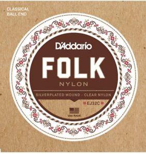 D'Addario EJ32C Folk Nylon Ball End Guitar Strings Silver Wound Clear Nylon
