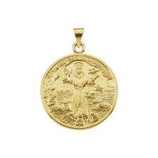 14Kt Solid Yellow Gold 26mm St. Francis of Assisi Medal, Medal Only No Chain