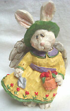 Bunny Rabbit Gardening Angel - So Sweet & Detailed - Excellent Condition