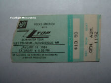 Zz Top 1984 Concert Ticket Stub Albuquerque Nm Tingley Rare Z.Z. Eliminator Tour