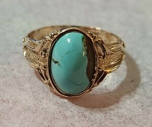 Antique 18k Rose Gold Natural 11x7mm Turquoise Ring Size 9.5