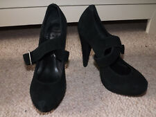 Office London Black suede platform buckle mary jane heels - size 3 / 36