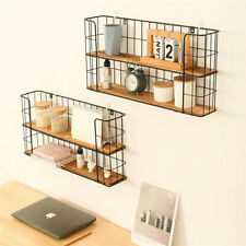2 Tier Wall Mounted Metal Wire Wood Shelf Floating Shelves Kitchen Storage Rack