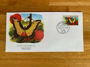 ANTIGUA & BARBUDA 1988 FDC FLEETWOOD AUDUBON BUTTERFLIES ANDROGEUS SWALLOWTAIL