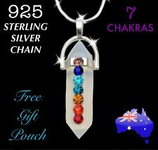 7 Chakra Crystal Opal Quartz Point Pendant 925 Sterling Silver Chain Necklace