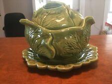 Vintage Holland Mold Ceramic Cabbage Lettuce Serving Dish W/ Under Plate & Lid