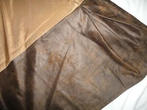 "HI END FAUX LEATHER BROWN SUEDE SOUTHWESTERN WESTERN QUEEN BEDSKIRT 18"" SPLIT"