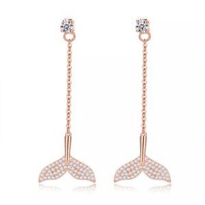 ZARD Cubic Zirconia Mermaid Tail Dangle Charm Drop Dangle Earrings Ear Stud