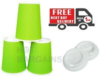 8/12oz 100 x Green Disposable Paper Cups Kraft Cups Hot & Cold Drinks Party Cups