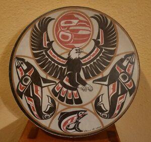 "Vintage CLARENCE A. WELLS  Northwest Coast Native Haida 11"" Hand Drum"