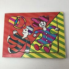"Vtg Connor Toy Jack and Jill Wooden Board 19 Pc Puzzle 11.5"" X 8.5"" Pop Art"