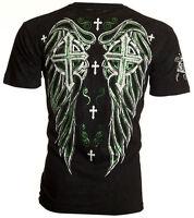 Archaic AFFLICTION Men T-Shirt FAITH REGAINED Cross Wings Tattoo Biker $40
